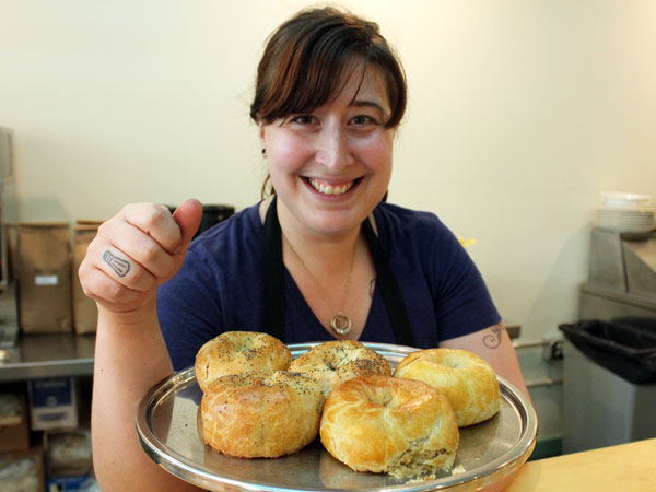 Laura Frangiosa and knishes at The Avenue Delicatessen in Lansdowne.