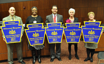 Representatives from the five Radnor Township School District schools accept awards for achieving Adequately Yearly Progress: (from left to right) Radnor High School Assistant Principal for Student Affairs Dan Bechtold, Radnor Middle School Assistant Principal Esther Purnell, Wayne Elementary School Principal Anthony Rybarczyk, Radnor Elementary School Principal Therese Borden, and Ithan Elementary School Principal Tronya Boylan.