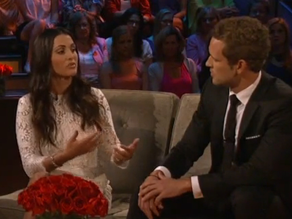 "Bachelorette Andi Dorfman telling the guy who finished second, Nick Viall, how she tried to let him down gently, during ABC´s ""After the Final Rose,"" on ABC July 28, 2014."