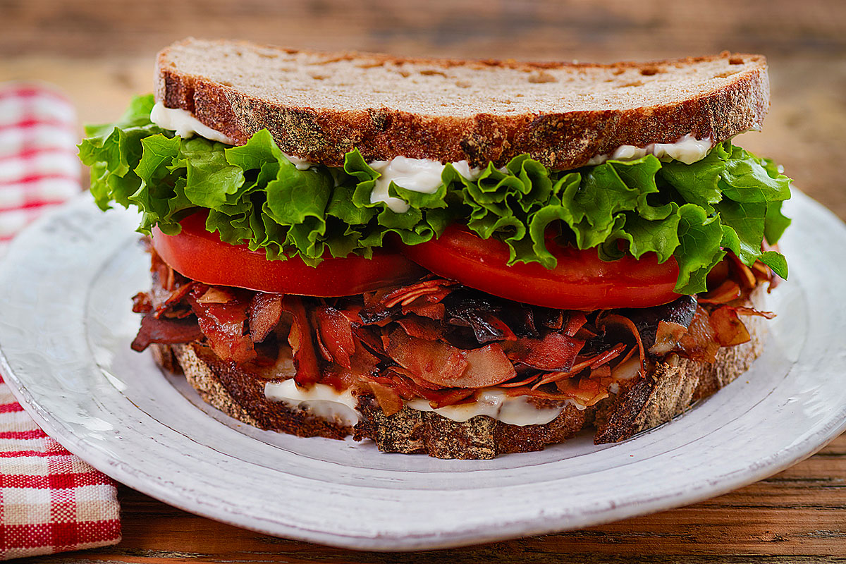 "Classic BLT with vegan bacon as featured in ""Baconish"" by Leinana Two Moons (Vegan Heritage Press)."
