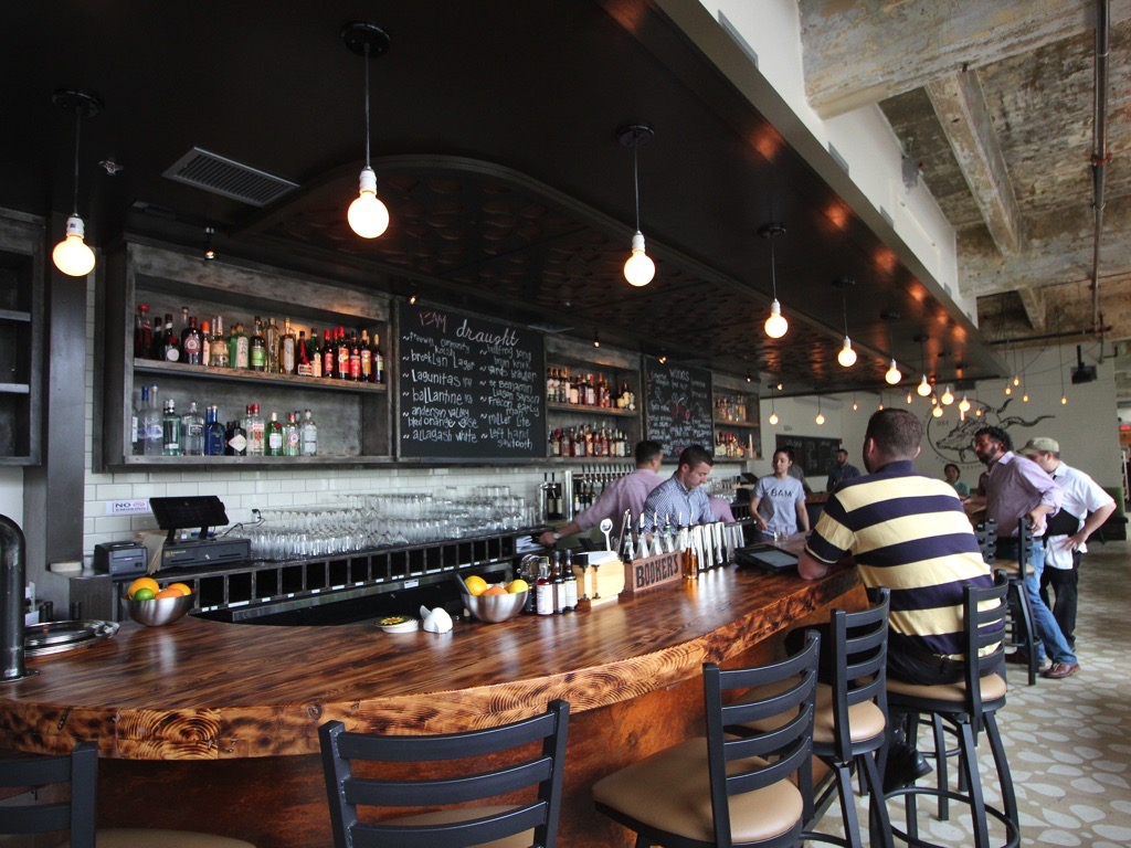 brick and mortar  industrial american bar in loft district