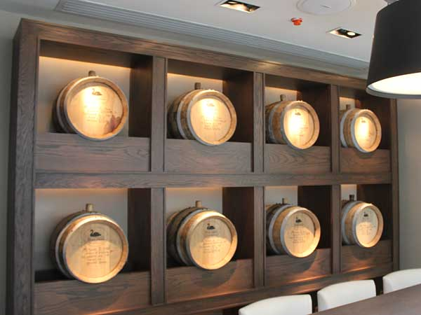Bourbon barrels in the private dining at Bank & Bourbon, in the Loews Philadelphia Hotel.