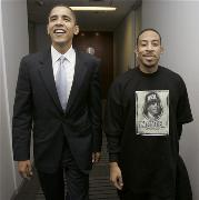 In this Nov. 29, 2006 file photo, Sen. Barack Obama, D-Ill., and rapper Ludacris leave the senator´s Chicago offices after a meeting. Maybe Luda is suggesting another song for Obama´s i-Pod.