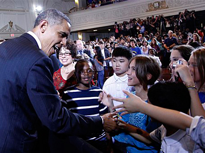 President Obama shakes hands with students after delivering remarks at his second annual back-to-school speech, at Julia R. Masterman School in Philadelphia. (AP Photo/Pablo Martinez Monsivais, File)<br />