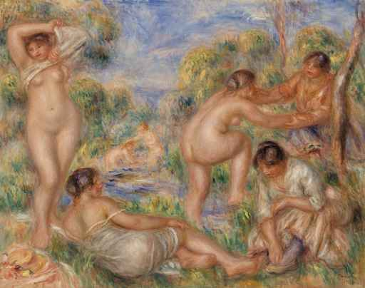 Pierre-Auguste Renoir,  1841-1919 Bathers (Les Baigneuses), 1916<br />Oil on canvas This hung in the central gallery on the ground floor of the Barnes Foundation in Merion, bracketed by two Cezannes. It is reputed to be Albert Barnes&acute;s favorite Renoir. <br />Photograph 2010 reproduced with the Permission of The Barnes Foundation.<br />