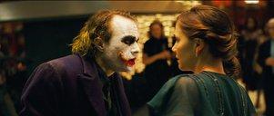 "Heath Ledger stars as The Joker and Maggie Gyllenhaal  stars as Rachel Dawes in ""The Dark Knight.<br />"