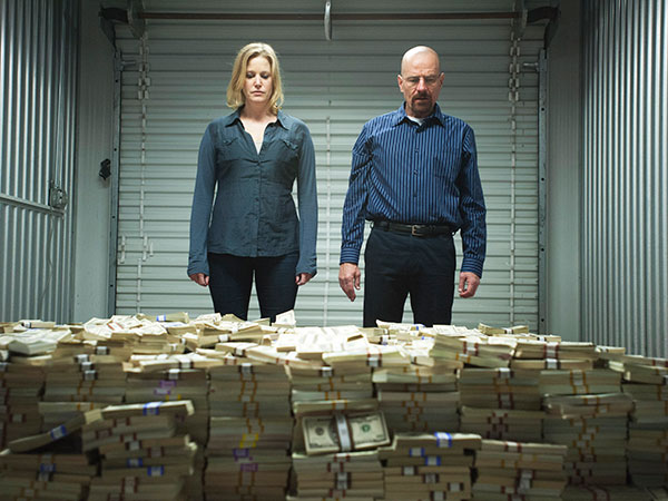 "In this publicity image released by AMC, Anna Gunn, left, and Bryan Cranston are shown in a scene from ""Breaking Bad."" (AP Photo/AMC, Lewis Jacobs)"