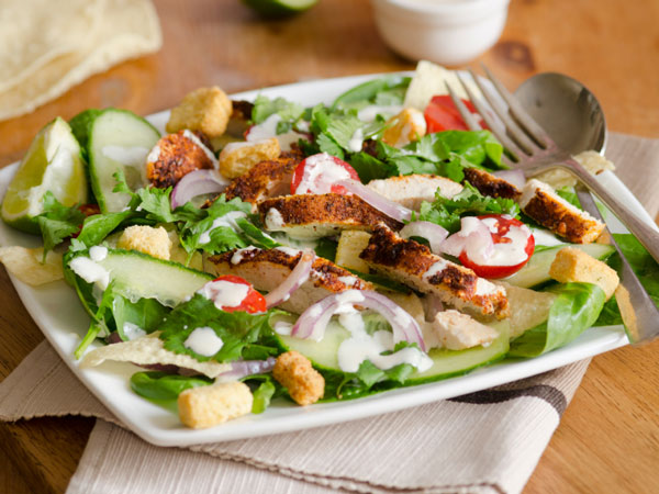 This delicious chicken salad is made with boneless chicken breasts, celery, red bell pepper, corn, and fat-free mayo.