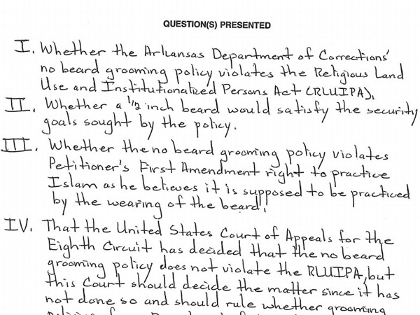 From the handwritten petition to the Supreme Court.
