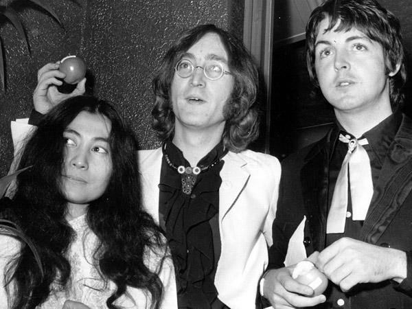 Yoko Ono with John Lennon and Paul McCartney.