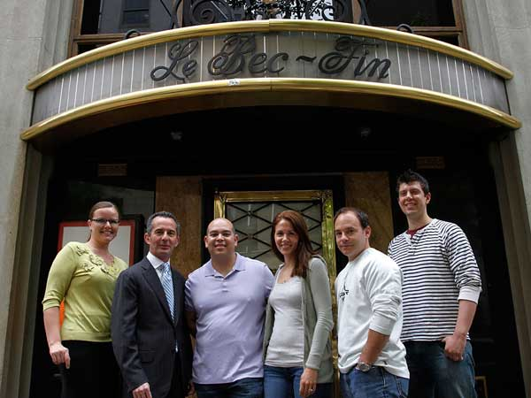 In summer 2012, the crew at Le Bec Fin (from left): Shannon Corin, private events coordinator; Nicolas Fanucci, owner; Walter Abrams, chef; Jennifer Smith, pastry chef and Abrams´ fiancee; Vince Montagne, executive sous chef; and Steven Eckerd, sous chef. (MICHAEL S. WIRTZ / Staff Photographer)