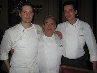 Perrier with chef Nicholas Elmi (left) and executive pastry chef Cedric Barberet. (EVE QUATTRONE)