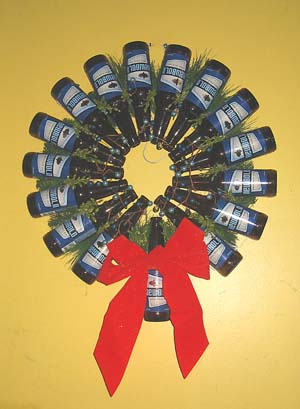 "Nothing says ""Visit the taproom this Christmas!"" like a wreath made of beer bottles."