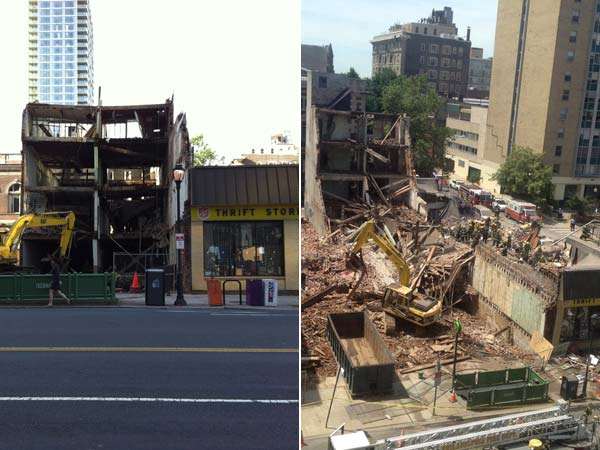 A look at before and after the building collapsed at 22nd and Market Streets on Wednesday, June 5, 2013. A committee has been formed in an effort to create a memorial park at the site. (AP Photos/Dino Hazell and Luis Cornejo)