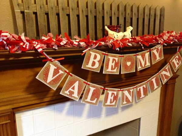 "Too scared to pop the question? You don't have to with the ""be my Valentine"" banner."