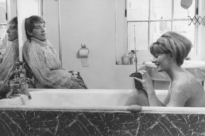 "Bathtime  chez Delts. David Warner gazes adoringly at Vanessa Redgrave, from ""Morgan!"""