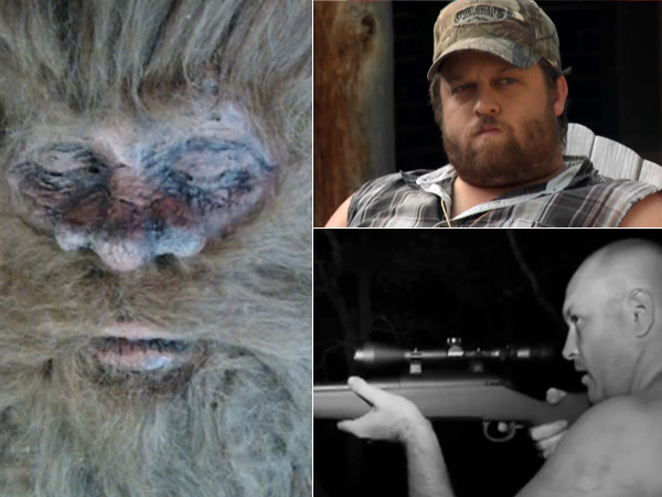 "Two men who claim to have shot and killed Bigfoot. Rick Dyer (bottom right) on camera supposedly shooting the one seen at left in San Antonio in September 2012. Justin Smeja, who shot two in California in 2010, telling his story on Spike TV´s ""$10 Million Bigfoot Bounty,"""