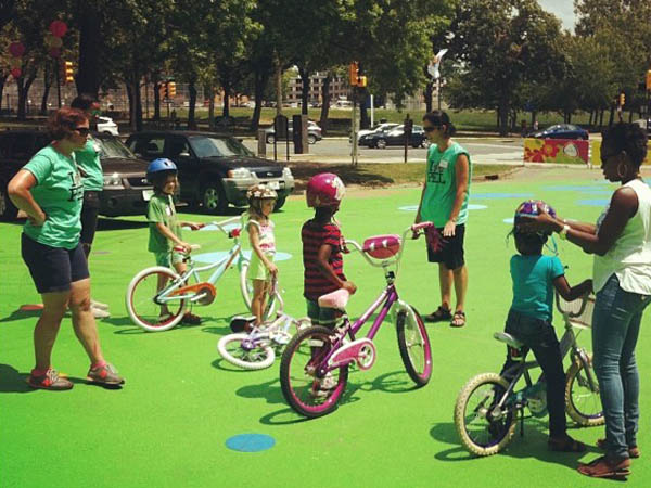 Kids can learn to ride bikes today at The Oval on the Benjamin Franklin Parkway. (Photo via Facebook)