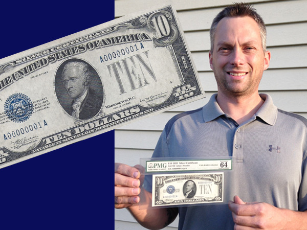 Billy Baeder, a Royersford currency collector, who co-owns a car-repair shop, holds what could be the most valuable piece of currency printed since 1929: a 1933 Silver Certificate with the serial number A00000001A.
