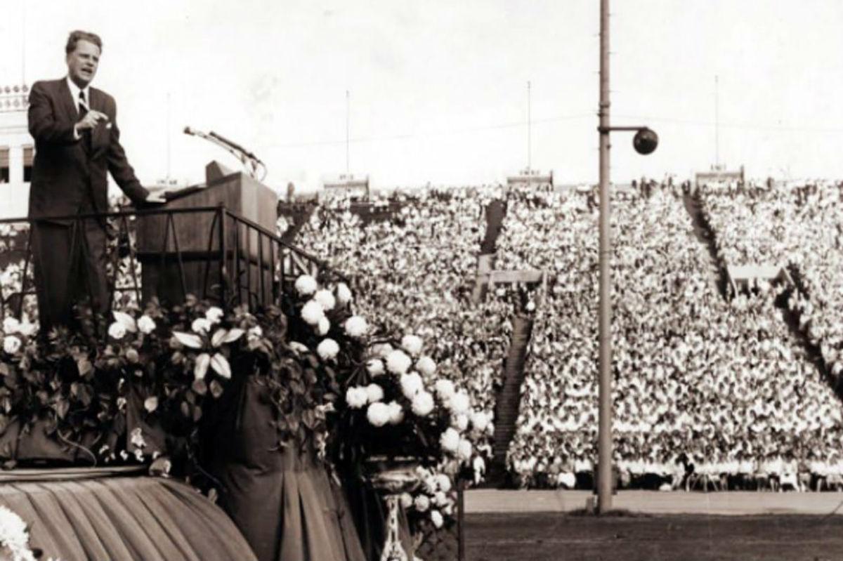 Billy Graham speaks in Philadelphia during his crusade in 1961.
