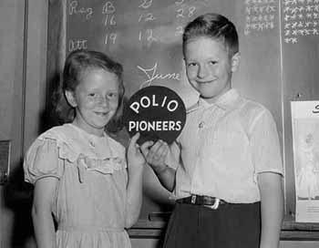 """Children that participated in the 1954 field trials of the Salk vaccine were dubbed """"polio pioneers."""" (University of Michigan)"""