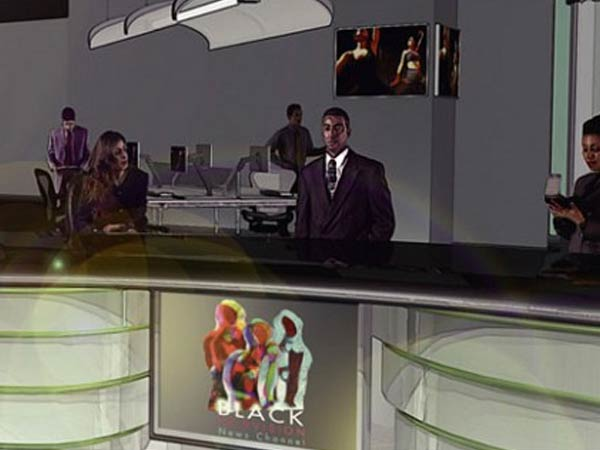 A rendering of the future newsroom at Black Television News Channel. (Illustration via BTNC)