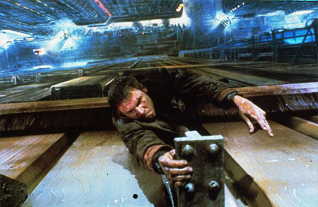 "Harrison Ford hangs in there as Rick Deckard in ""Blade Runner."""