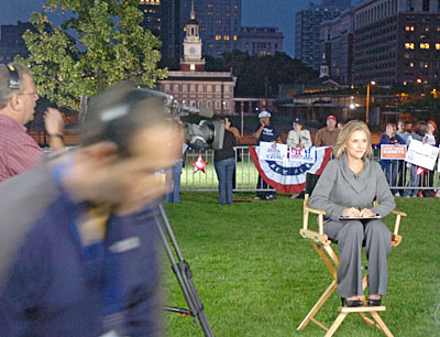 Today co-host Vieira sits in her director´s chair on the set of the show on Independence Mall, patiently wiating for sound and lighting checks to finish before the show goes live. (Clem Murray / Inquirer)
