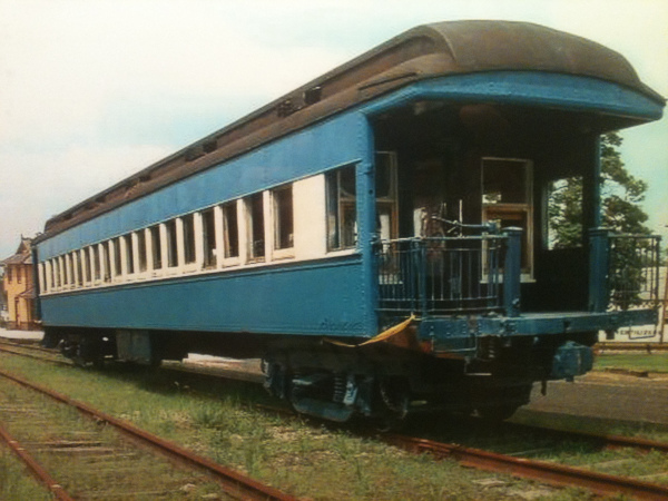 A Blue Comet car that sits on a track in Tuckahoe, awaiting restoration.  (Photo by Bob Whipple)