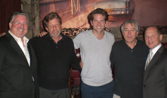 At Cuba Libre (from left): co-owner Larry Cohen, Barry Primus, Bradley Cooper, Robert De Niro, co-owner Barry Gutin.