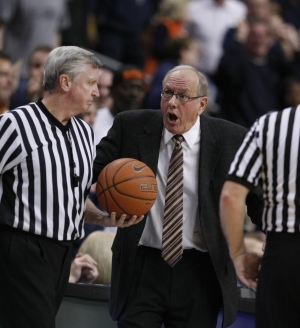Syracuse coach Jim Boeheim has been a fixture at the Big East tournament. Now he´ll be bringing his team to the ACC tournament. (RON CORTES / Staff Photographer)