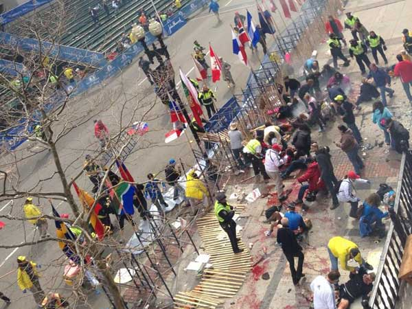 There were two explosions at the finish line of the Boston Marathon. Dozens are reported to be injured. (via Twitter user @nightshiftpol)