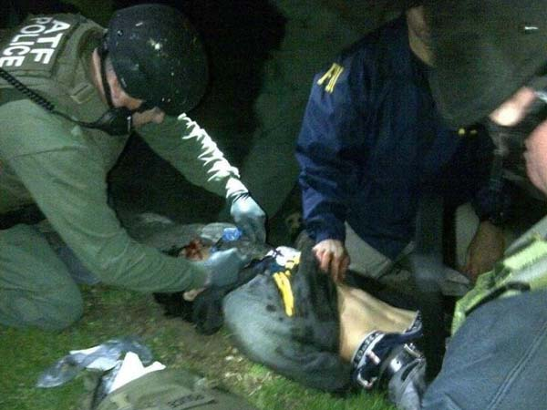 Boston Marathon bombing suspect Dzhokhar Tsarnaev after he was captured in Watertown, Mass., Friday, April 19, 2013. The photo was confirmed as authentic by federal authorities.