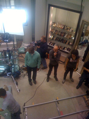 photo by Elizabeth Wellington. My view from the second floor Here we see Boyds doubling as Bergdorf Goodman for The Best and The Brightest being filmed here in Philadelphia.