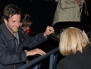 "Bradley Cooper greets his mother, Gloria, at a screening of ""Limitless."" (HUGHE DILLON  / PhillyChitChat.com)"