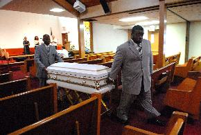 Casket carrying the body of Brandon Thompson, 4, at St. Matthews United Methodist Church in Delair, NJ.