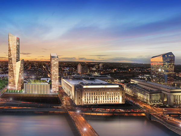 Rendering of new FMC Tower (left) showing Evening View Looking West - TOWER at Cira Centre® South A Development of BrandywineRealtyTrust.