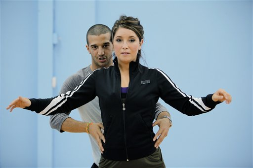 "In this publicity image released by ABC, Bristol Palin, daughter of former Alaska Gov. Sarah Palin, and her partner Mark Ballas rehearse for ""Dancing with the Stars,"" premiering Monday, Sept. 20, 2010 on ABC. (AP Photo/ABC, Greg Zabilski)"