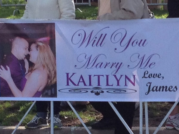 Kaitlyn Foley got more than a race medal at the finish line of the Broad Street Run. Her boyfriend James Bowman popped the question!