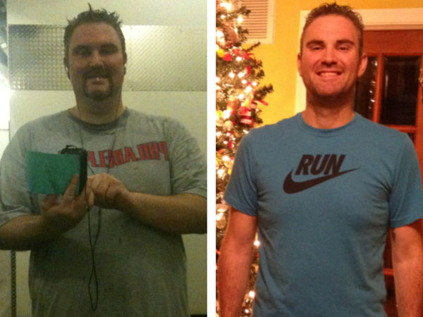 Andy Aubin in Dec. 2011 (318 lbs.) and again in Dec. 2012 (203 lbs.).