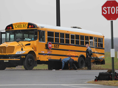 Scene of school bus and dump truck crash on Rt 528 Chesterfield Twp. N.J., February 16, 2012.  ( David M Warren / Staff Photographer )
