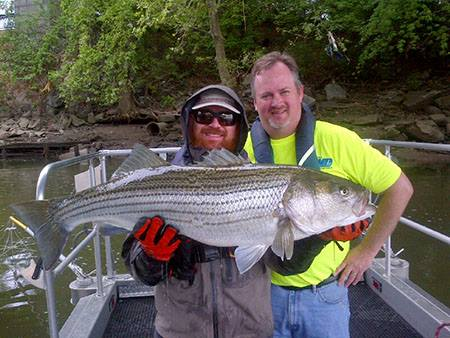 Joe Perillo and Lance Butler with the striped bass they caught Wednesday. (Philadelphia Water Department photo)