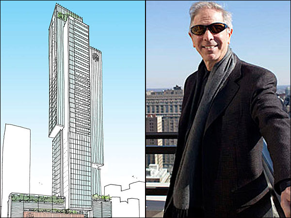 Carl E. Dranoff´s latest S. Broad Street project will be the tallest high-rise built just for residential use in the city. (Dranoff photo: ED HILLE / Staff/File; Rendering by Kohn Pedersen)