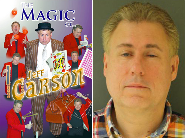 Magician Jeft Carson, from a promotional site on the left, is an alias for Jeffrey Leach, shown on the right from a picture on the New Jersey State Police sex offender registry website.