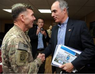Sen. Bob Casey (D.,Pa.) meeting with Lt. Gen. William Caldwell, in charge of training the Afghan Army and police force, in Kabul Sunday. (photo courtesy of office of Sen. Casey)