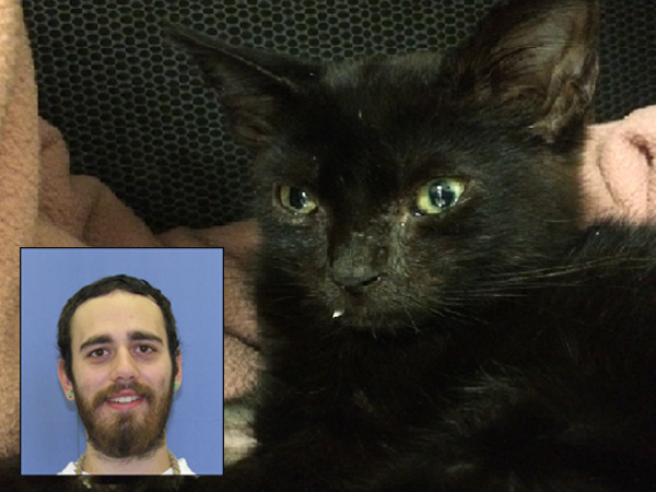 James Myers, left, and his alleged victim, a kitten, at right.