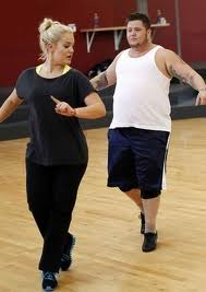 Chaz rehearses with partner Lacey. Those shoes look painful.