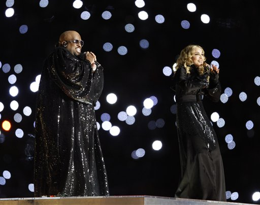 Madonna, right, and Cee Lo perform during halftime of the NFL Super Bowl XLVI football game between the New York Giants and the New England Patriots, Sunday, Feb. 5, 2012, in Indianapolis. (AP Photo/Matt Slocum)