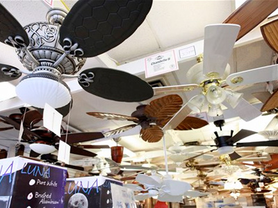 Ceiling fans are on display at Dan´s Fan City in Rockville, Md., Wednesday, June 16, 2010. Ceiling fans can provide an energy-efficient supplement to air conditioning during these hot summer months. (AP Photo/Jacquelyn Martin)