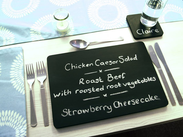 Personalize your placemats by using chalkboard mats.